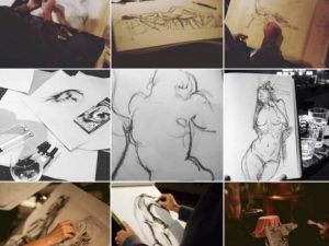 Group Life Drawing Session